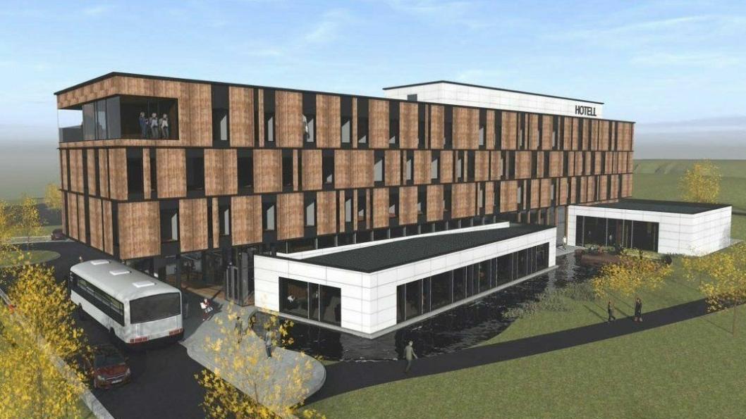 100 ROM VED E18: Slik ser utbyggerne for seg det nye hotellet som ligger midt mellom Oslo og Årjäng. Illustrasjon: Lorentz Kielland Arkitekter