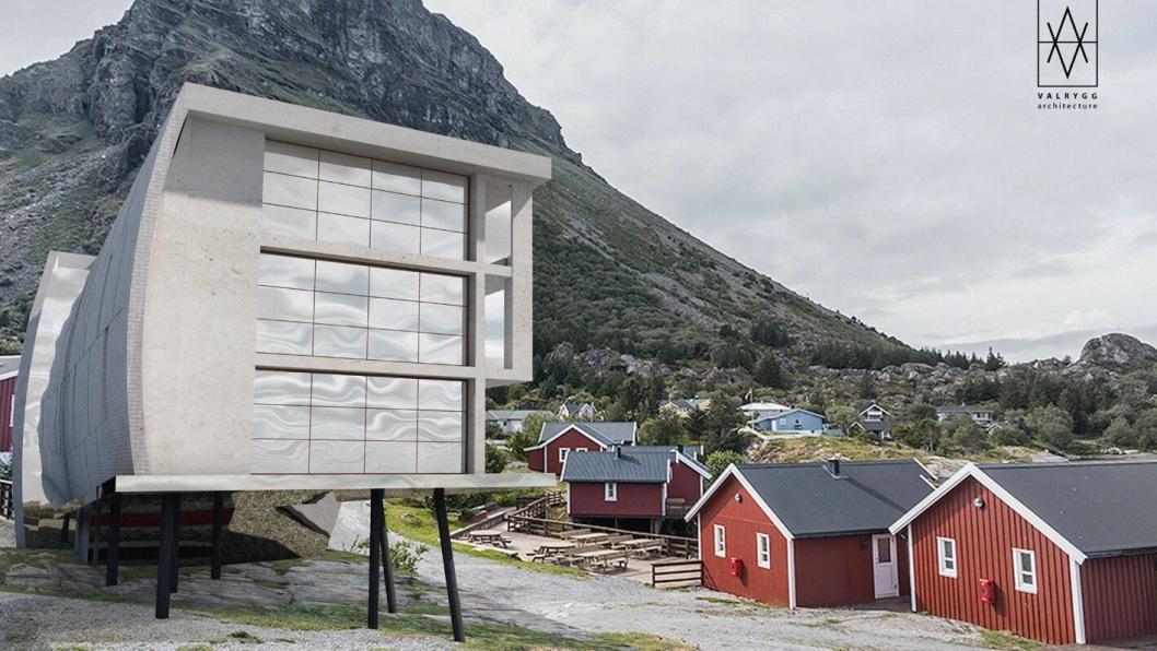 SPEKTAKULÆRT: Slik skal det se ut når det står ferdig, det nye hotellbygget på Lovund. Neste år står det arkitekttegnede hotellet klart til å ta i mot gjester.