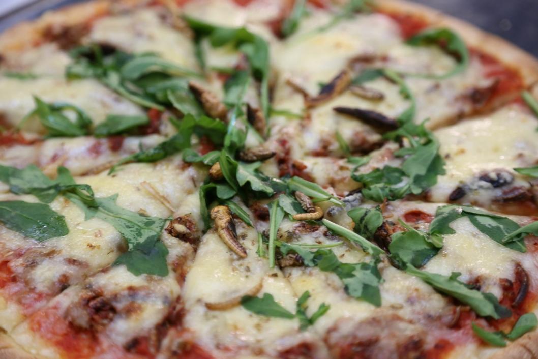 MORGENDAGENS PIZZA: Glem marinert biff og chorizo. Fremtidens pizzaingredienser er gresshopper og sirisser. Foto: Coxit.