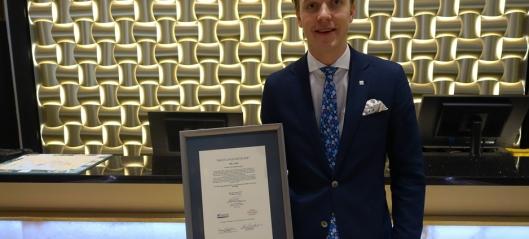 Olle Aulin ble kåret til «Årets Unge Hotelier 2016»