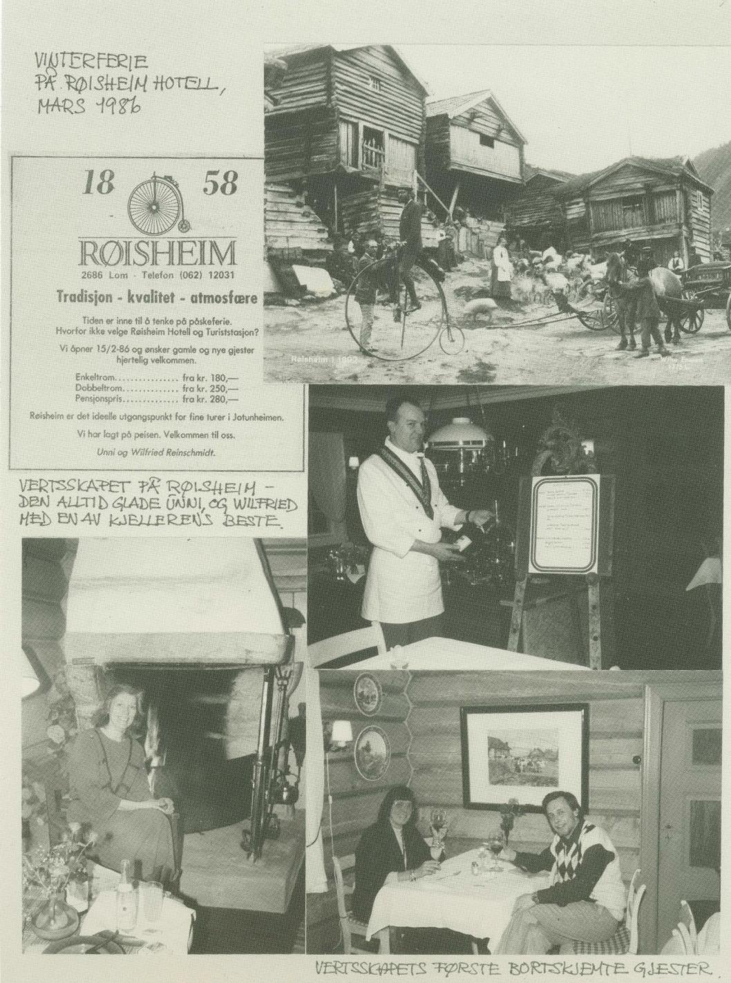 1986: Av denne montasjen, som reklamerte med vinterferieopphald for 30 år sidan, ser ein mellom anna at eit opphald på den gamle skysstasjonen, med pensjon, kosta 280 kroner.