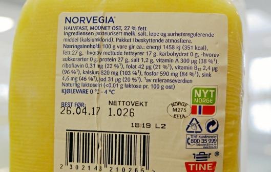 NÅ: Slik er dagens laktose-informasjon på Norvegia.