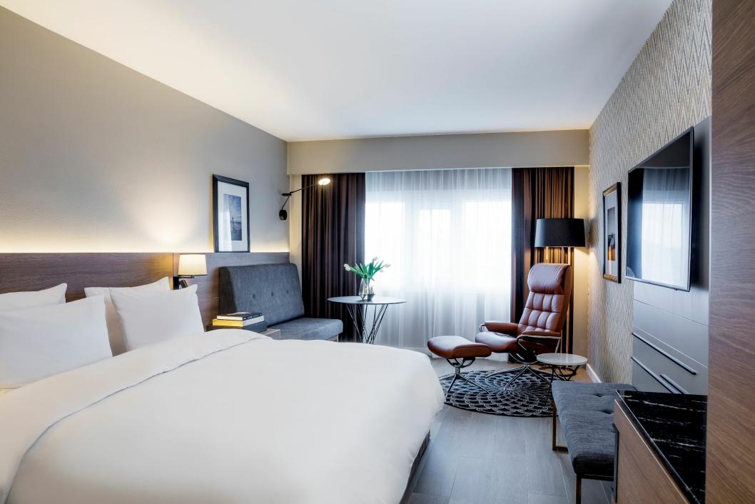 FLOTT: De første nyrenoverte rommene hos Radisson Blu Plaza Hotel i Oslo er allerede ferdige.