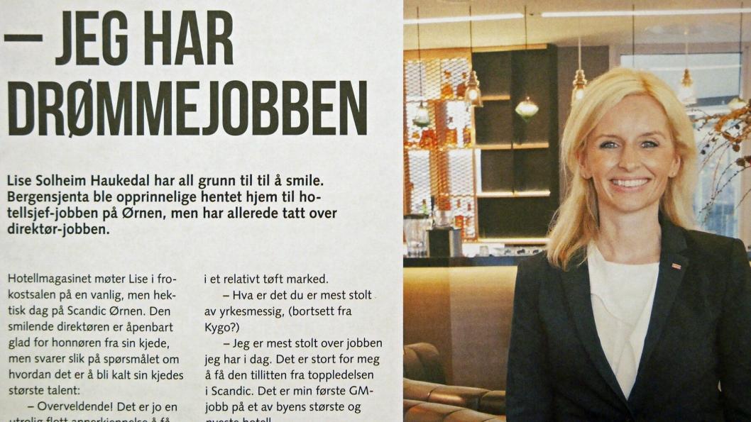 2015: I 2015 ble Lise Solheim Haukedal pekt på som Scandic-kjedens største ledertalent.