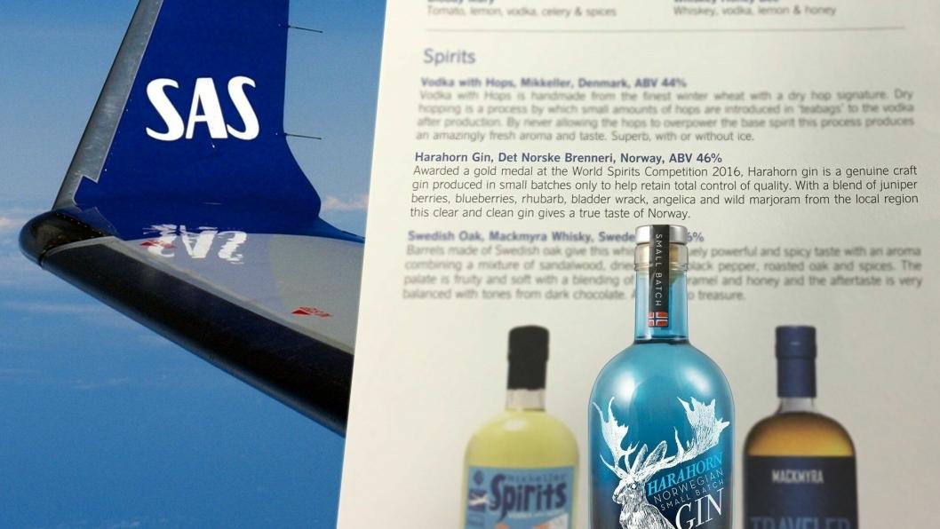 HØYTFLYVENDE: Den nye menyen ombord i SAS. Harahorn flyr høyt.