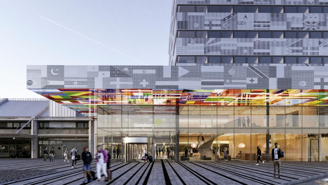 TEGNING: Noe i nærheten av slik er det Scandics nye flyplasshotell i Gøteborg blir.