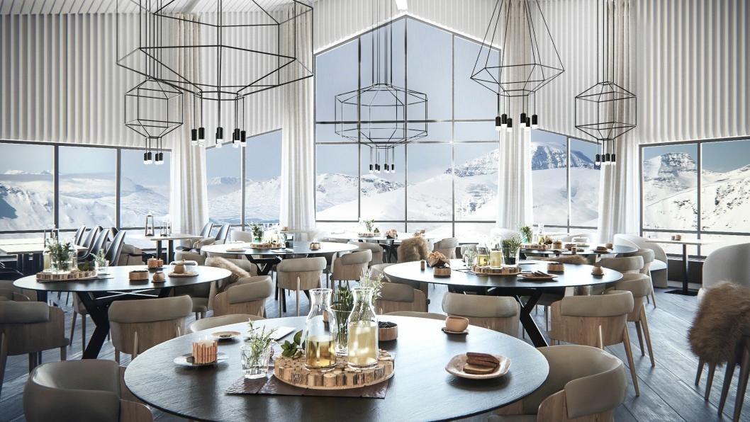 SATSER STORT: Dette er de første bildene av Hurtigrutens nye storsatsing på Svalbard. Bildet viser hvordan restauranten på Radisson Blu Polar Hotel vil se ut etter oppgraderingen.