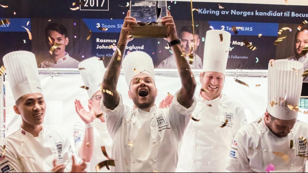 NY JUBEL: Blir det nye jubelscener, som her fra Årets Kokk 2017, når Christian André Pettersen skal i aksjon i Torino?
