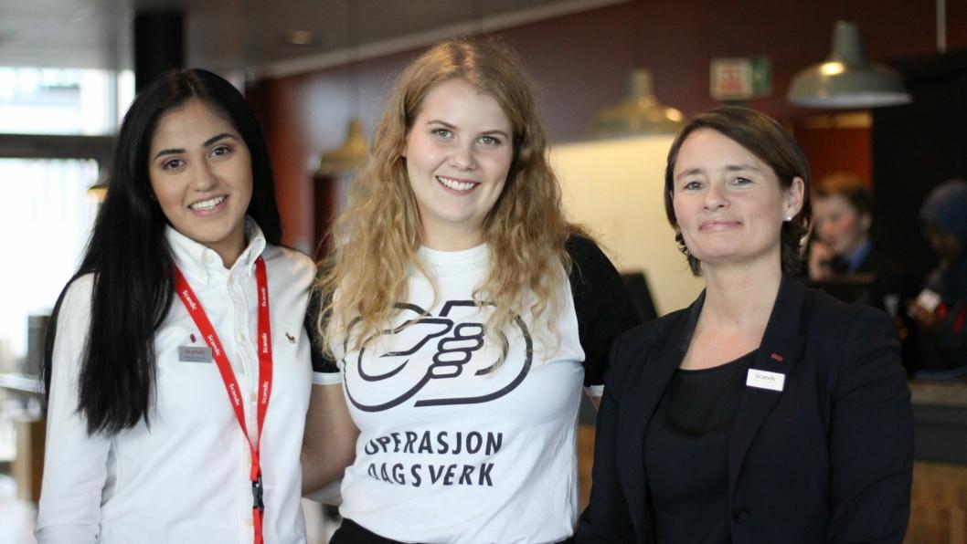 Stephanie Rivera, Operasjon Dagsverks Sandra Skiaker, hotelldirektør Monica Egeberg .