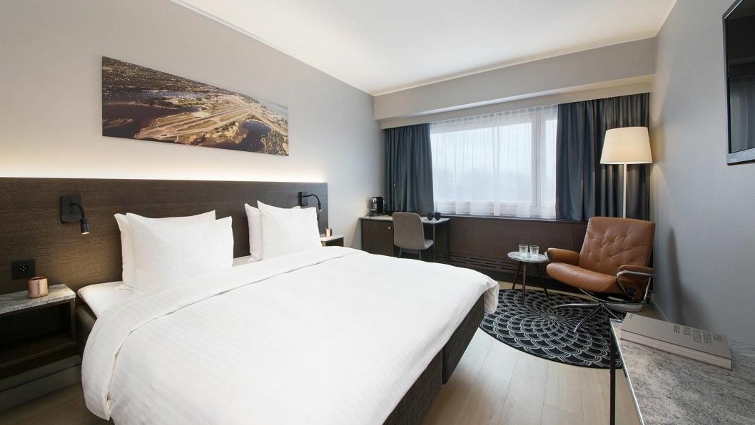 NYTT: Samtlige rom på Radisson Blu Park Hotel, Fornebu er nå pusset opp. Sjekk forøvrig bildet på veggen.