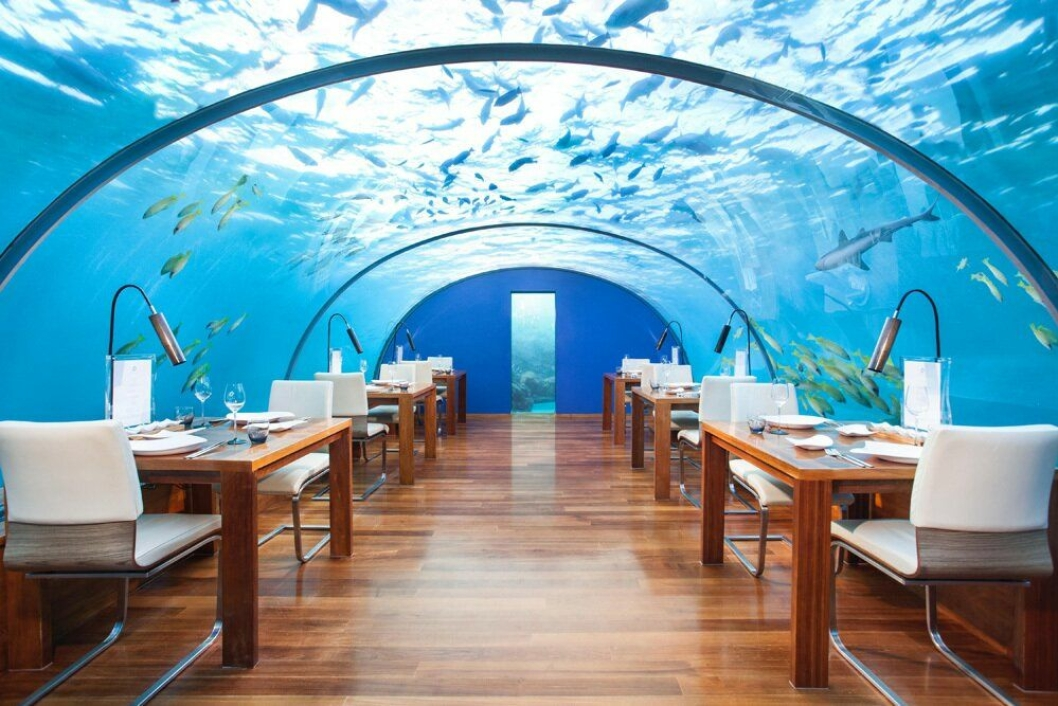 3. plass: Conrad Maldives Rangali Island, Maldivene – undervannsrestauranten.