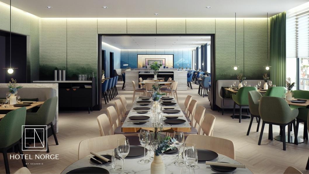 NY: Slik blir Hotel Norge nye restaurant, NOVA. Design av Concrete Architects og MIR.