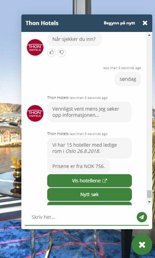 FLINK: I løpet av 15 sekunder har du oversikt over ledige hotellrom i Oslo kommende søndag.