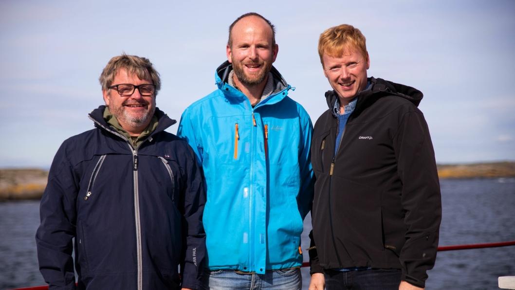 FRA VENSTRE: Bernt Bucher Johannessen, daglig leder i HANEN, Gunnar Sagstuen fra Røyland Gård og MENY-sjef Vegard Kjuus.