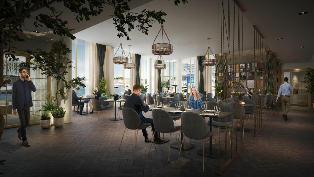 ÅPEN: Restauranten skal ha en åpen løsning mot kjøkkenet slik at gjestene kan se kokkene i arbeid.