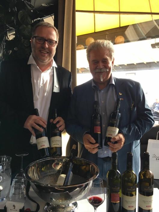 Geir Aage Sveen og Per-Ellef Amble fra Barkanor, en av to importører av israelsk vin til Norge.