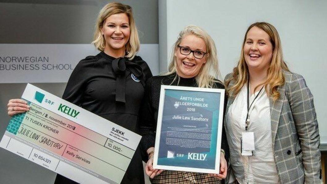 Fra venstre: Camilla Øyra Kelly Services, Julie Løw Sandtorv, Sales Manager Quality Hotel Edvard Grieg og Mariell Sæternes, daglig leder SRF.