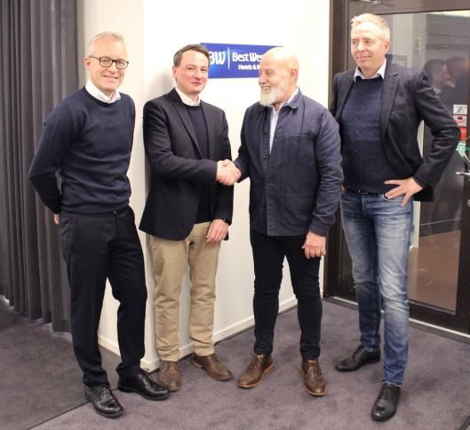 F.V.: Egil Messmer (CEO Wexus), Matthias B. Tanski (CEO CIC Hospitality), Johan Kukacka (CEO Best Western Hotels & Resorts, Scandinavia), Ronny Granli (Teknisk Direktør Wexus).