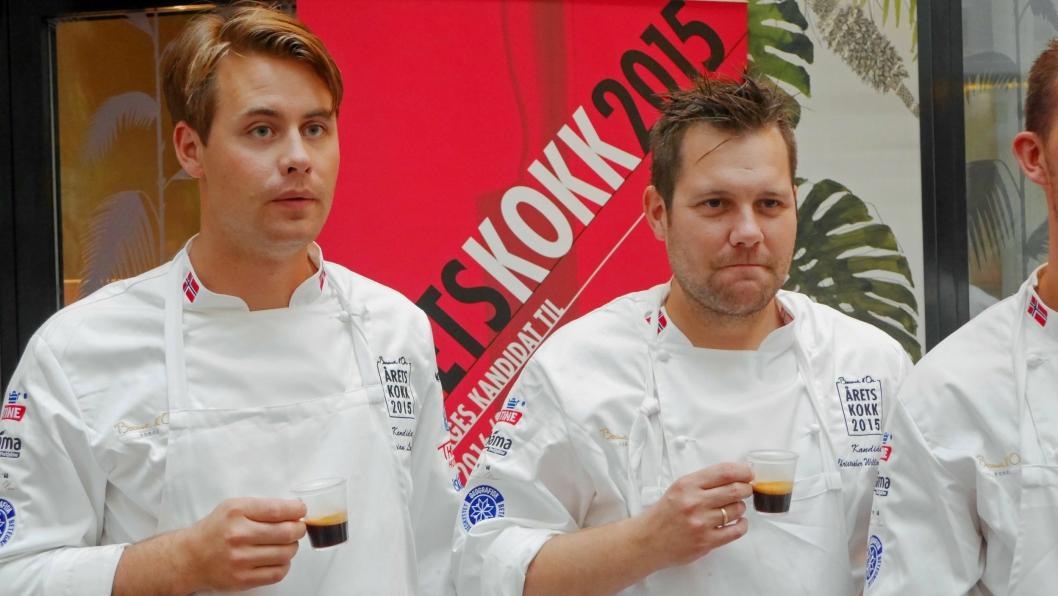 SATSER PÅ PIZZA: Adrian Løvold (t.v.) starter opp pizzarestaurant i Trondheim. Christopher W. Davidsen er på sin side i full gang med sin Speilsalen-jobb på Britannia Hotel. Her fra oppkjøringen til Årets Kokk i 2015.