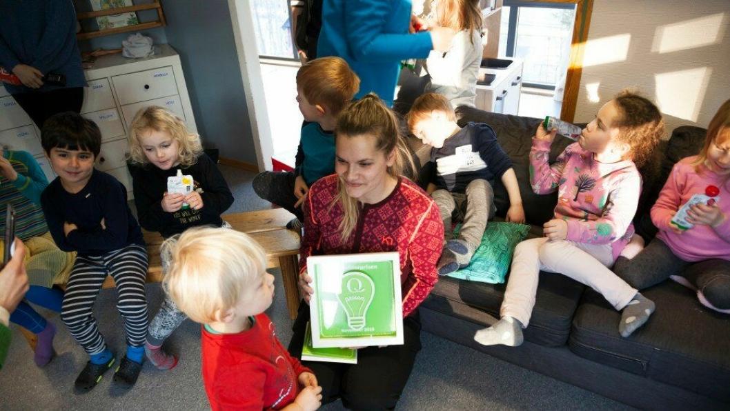 Pedagogisk leder i Kidsa Løvåsbakken barnehage, Kine Edvardsen, er primus motor for barnehagens matsvinnprosjekt.