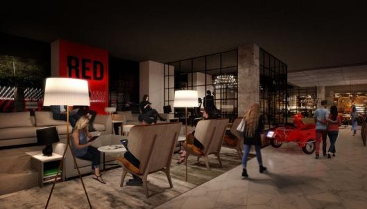 Slik kan lobbyen bli seende ut når hotellet åpner i 2021.