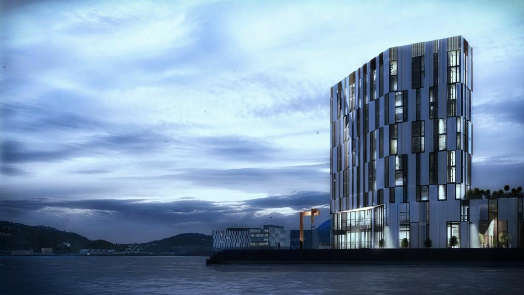 HØYT: Slik blir Stordalens nye hotell på kaikanten i Harstad. Åpning blir i 2021.