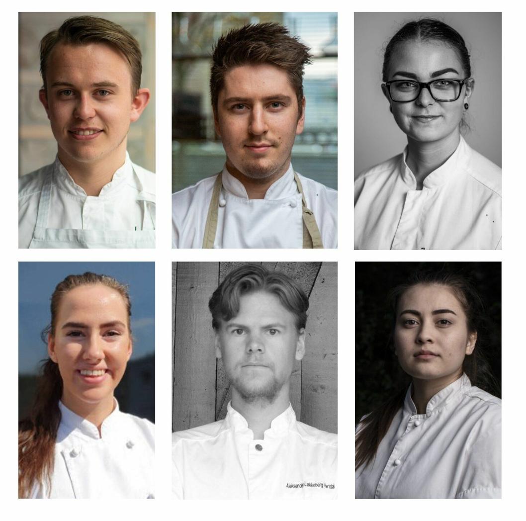 KANDIDATENE: Disse seks skal i aksjon under Årets unge kokk 2019.