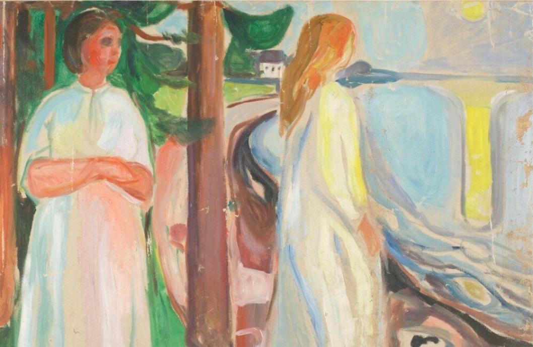 SNART 100: «To hvitkledde kvinner på stranden» ble laget et sted mellom 1925 og 1930.