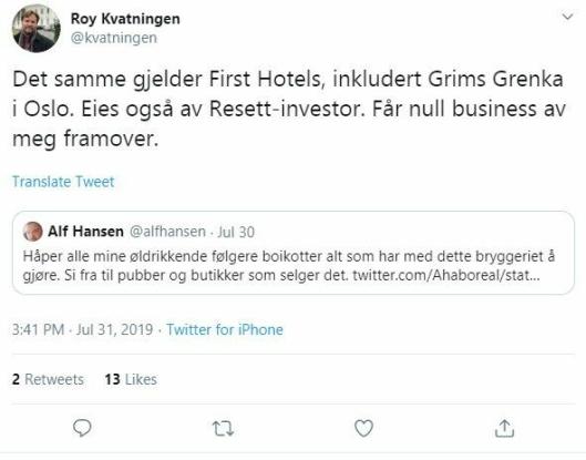 BOIKOTTER: Flere brukere på Twitter har oppfordret til å boikotte First Hotels så lenge Haare er eier av nettstedet Resett.