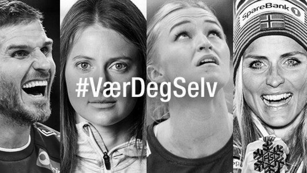 VÆR DEG SELV: I kampanjen skal noen av landets største idrettsprofiler fortelle sine historier.