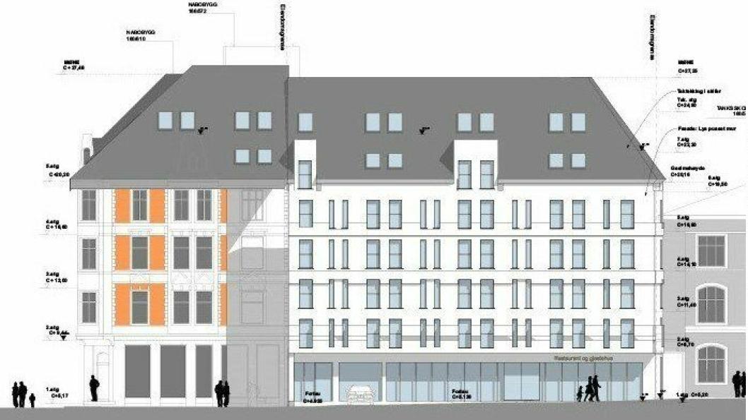 Slik ser Pallas Eiendom og Haut Nordic for seg det nye hotellet i Domkirkegaten 6.