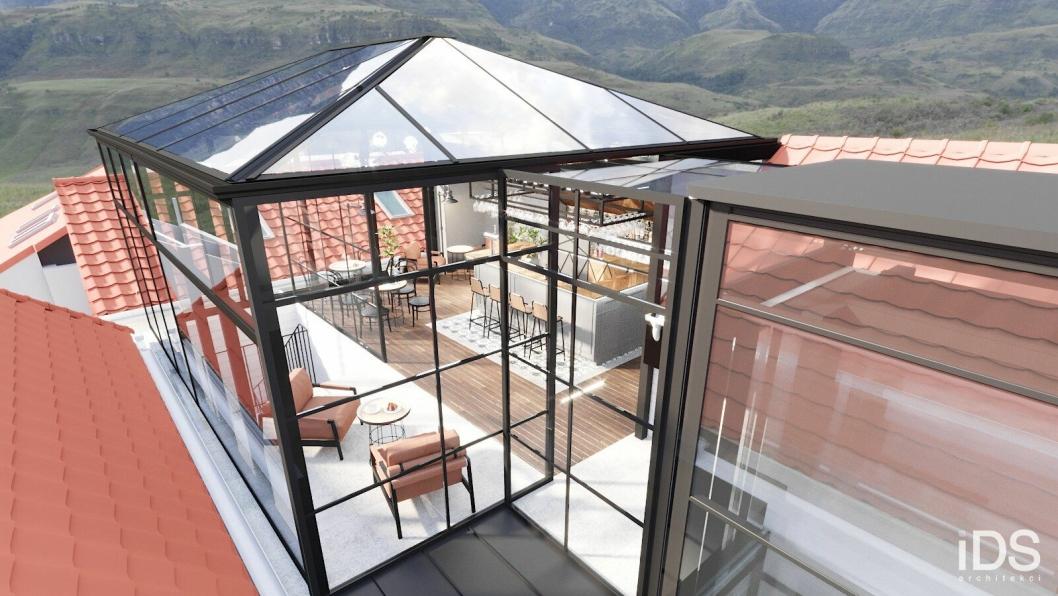 På toppen av hotellet i Skostredet vil Pallas Eiendom og Haut Nordic bygge et glassbygg hvor hotellgjester kan få servering.