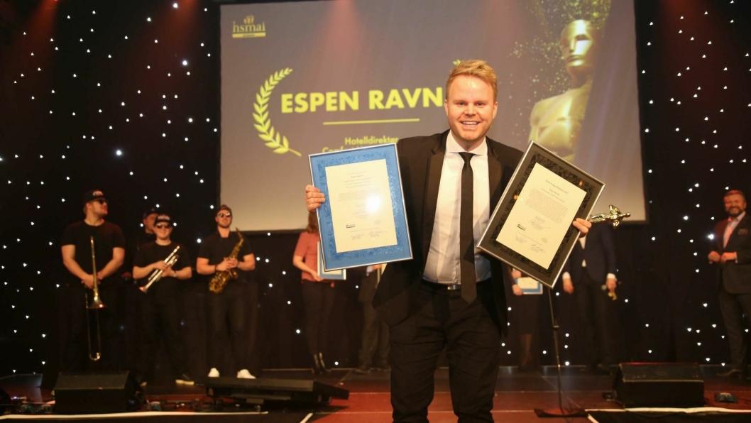 VANT IGJEN: Espen Ravnå vant i helgen årets GM i Nordic Choice. Bildet er fra HSMAI Awards 2018 hvor han også vant pris.